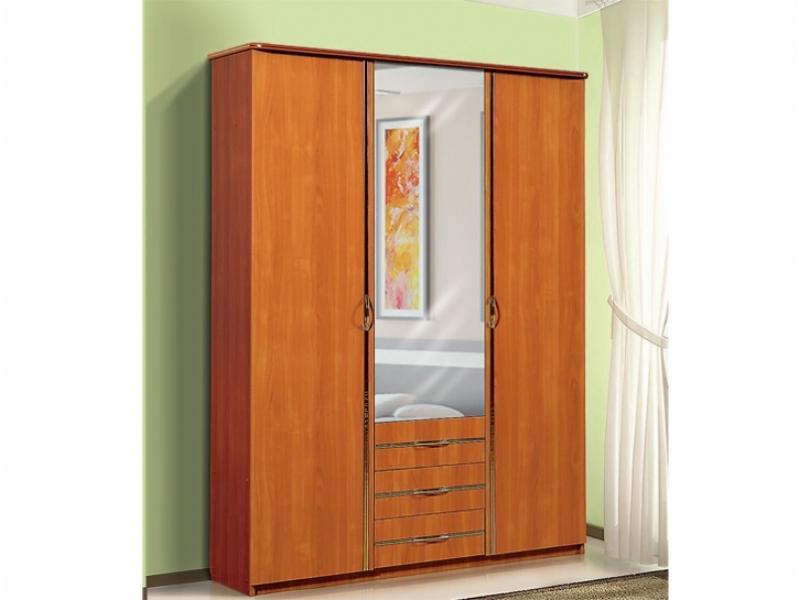 Шкаф для платья и белья 3-х створчатый с 3-мя ящиками и зеркалом