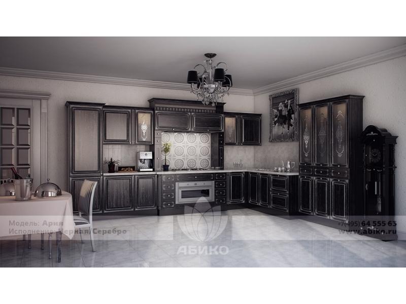 Кухня Ария Черная в серебре