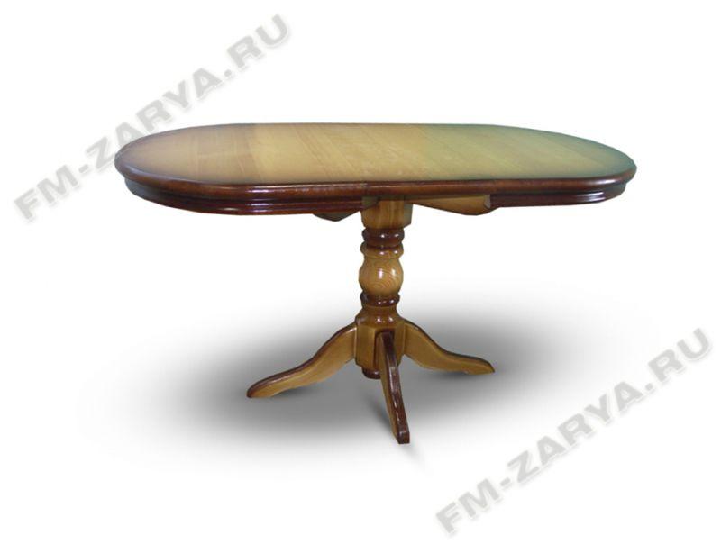 Стол на 1-ой балясине, раздвижной, фигурный обклад из массива дерева