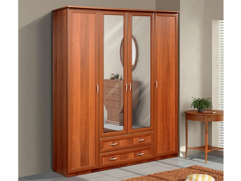 Шкаф для платья и белья 4-х створчатый с 2-мя ящиками и зеркалами