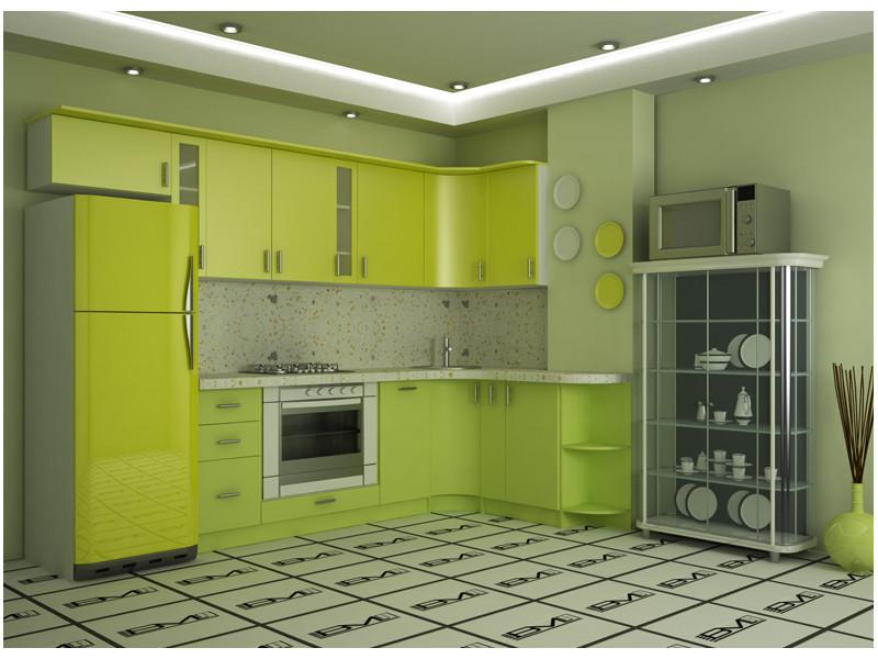 Кухня угловая МДФ Фисташка
