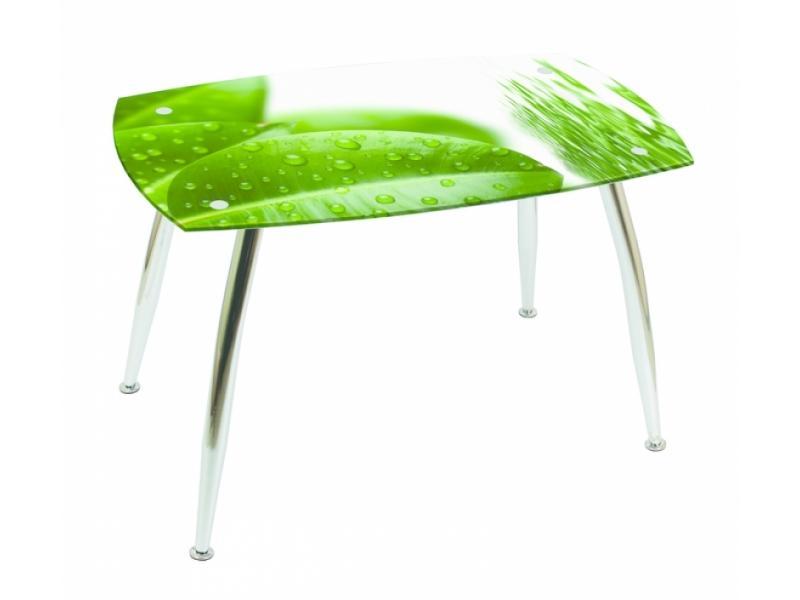 Стеклянный зеленый стол для кухни