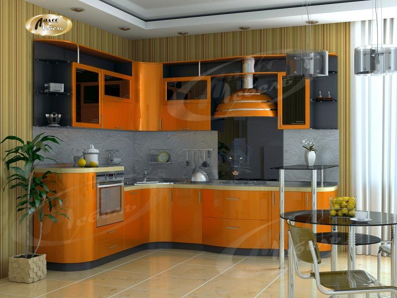 Кухня угловая «Оранжевый металлик»