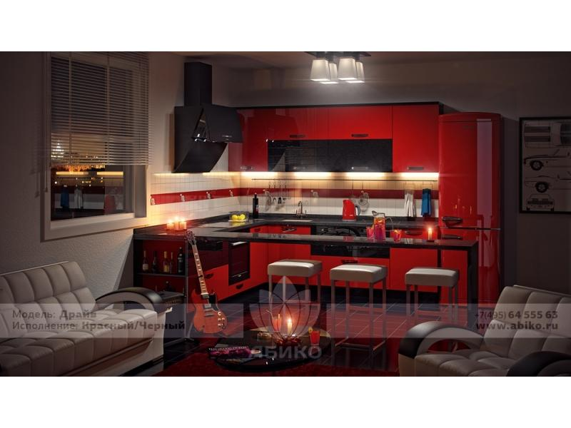 Кухня Драйв Красный/Черный