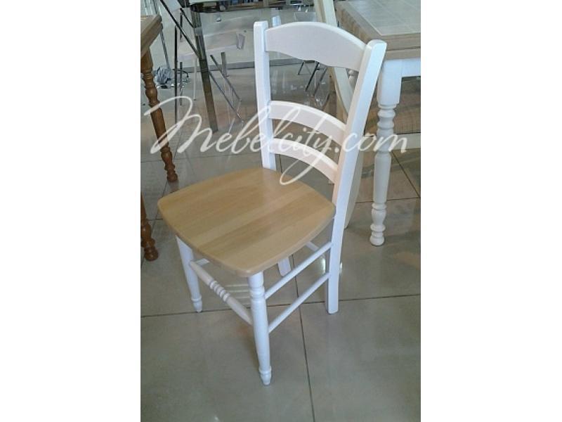 Стул 43D WHITE белый/ WOOD SEAT