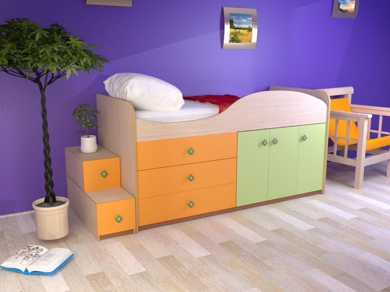 Кровать Малыш с комодом и ящиками