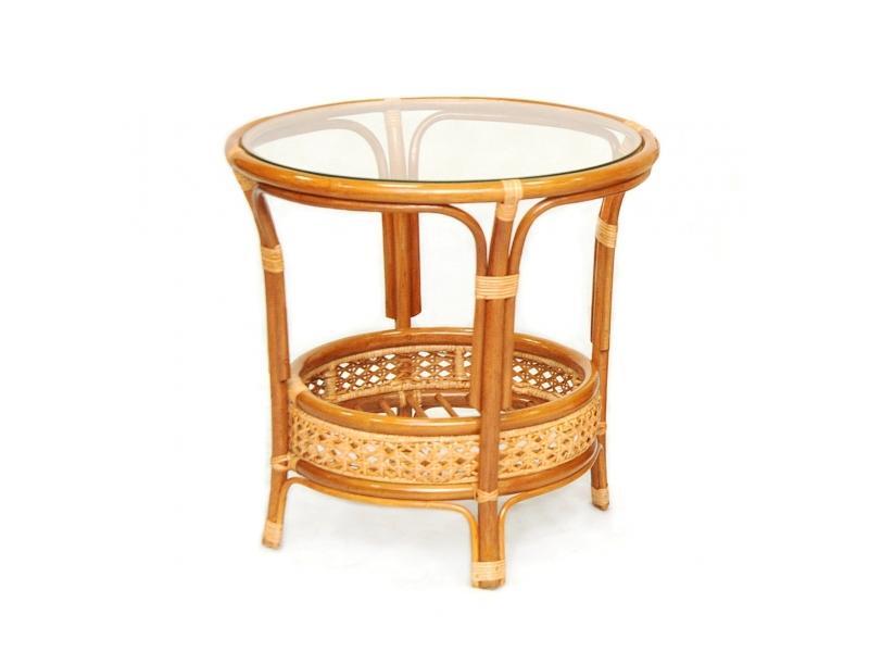 Стол из ротанга  со стеклом Пеланги арт. 02/15А Б