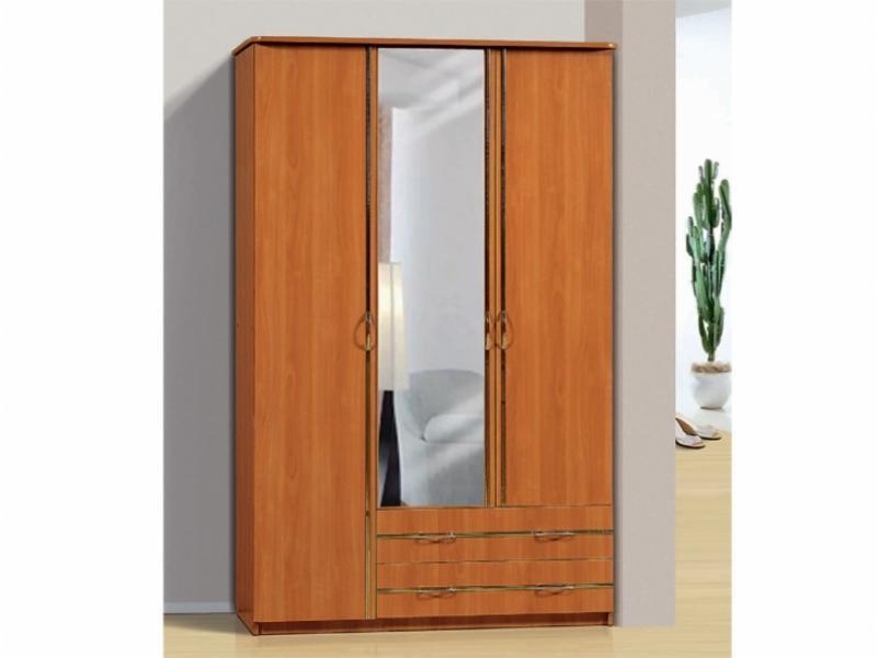 Шкаф для платья и белья 3-х створчатый с 2-мя ящиками и зеркалом