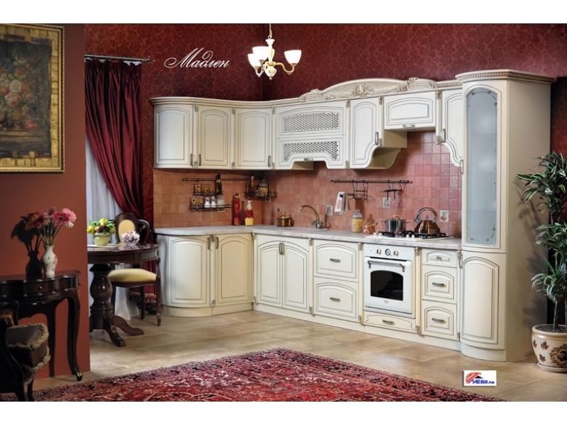Кухонный гарнитур угловой Мадлен крем