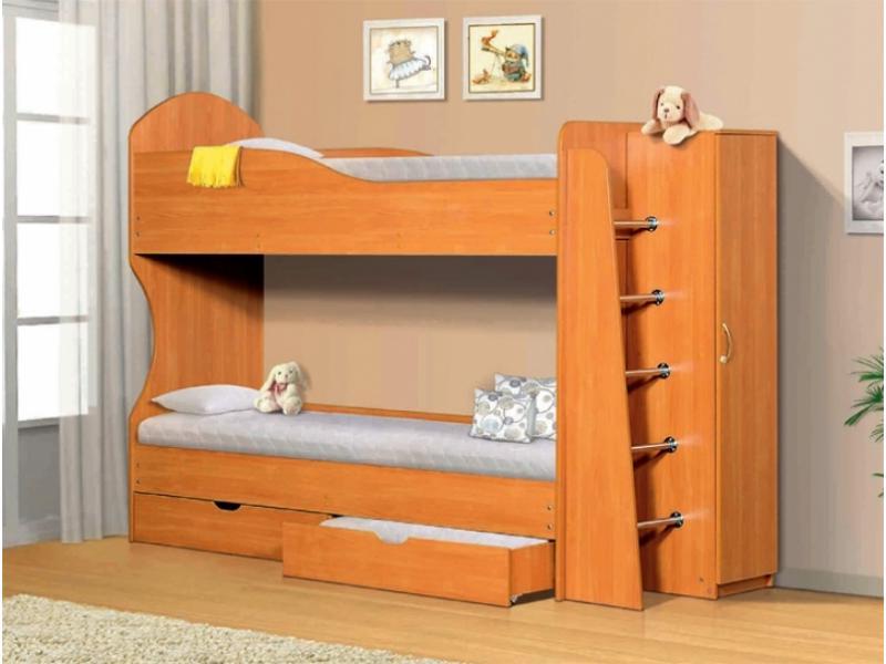 Кровать 2-х ярусная с ящиками и шкафом