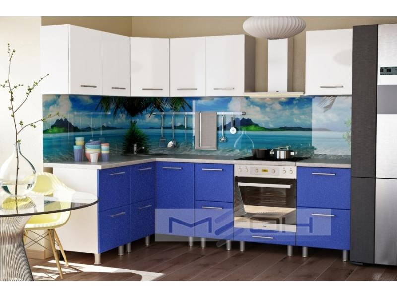 Синяя угловая кухня №1