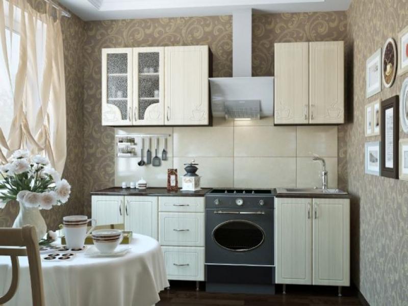 Кухонный гарнитур прямой Кофе