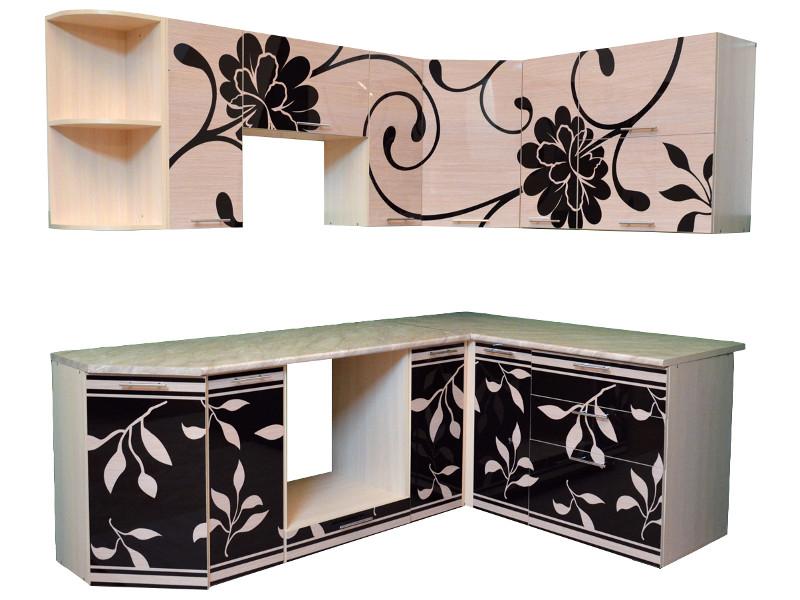 Кухня угловая К1 Черные цветы