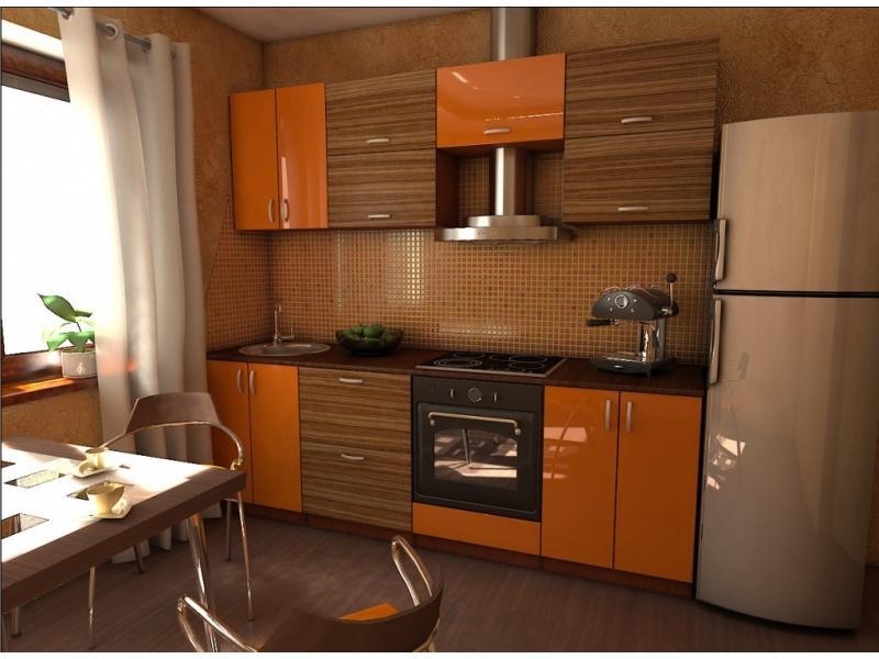 Кухня оранжевая прямая
