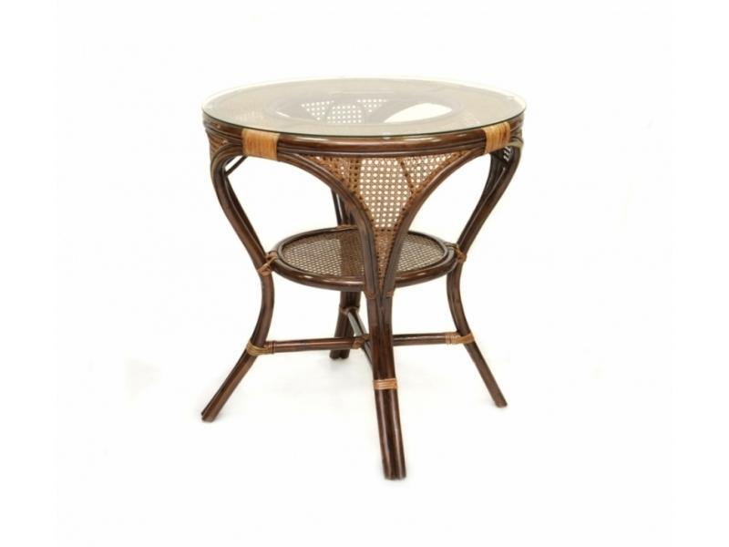 Стол из ротанга  со стеклом Mokko L