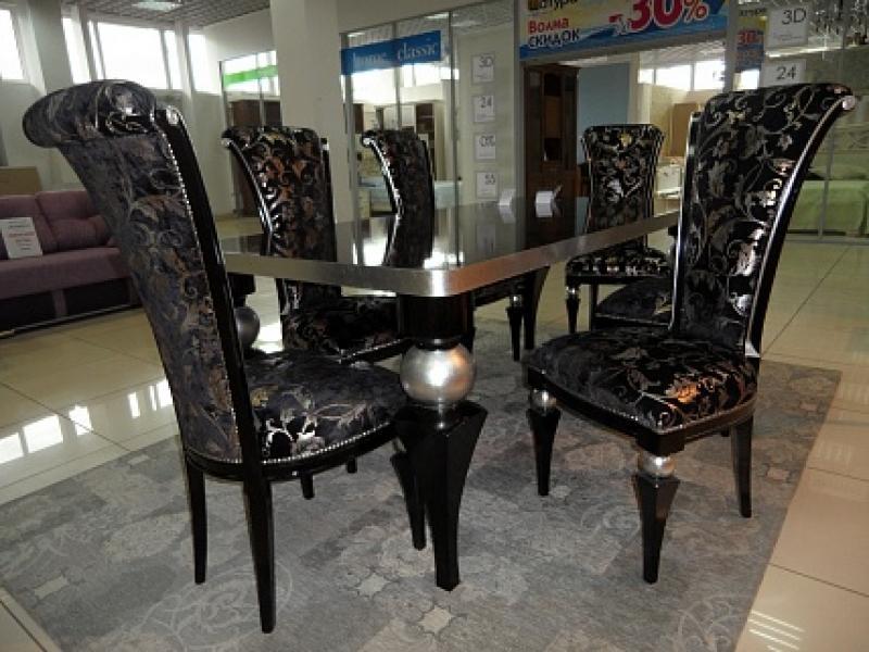 Стол 3224/TR черный с серебром