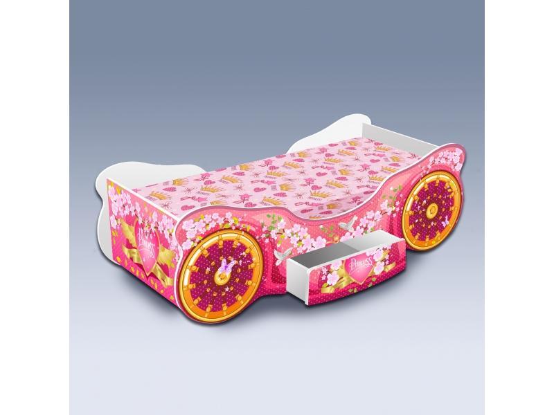 Детская кровать Карета Сакура с ящиком