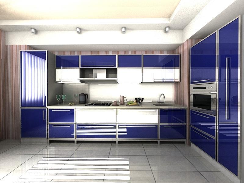 Угловая Синяя кухня