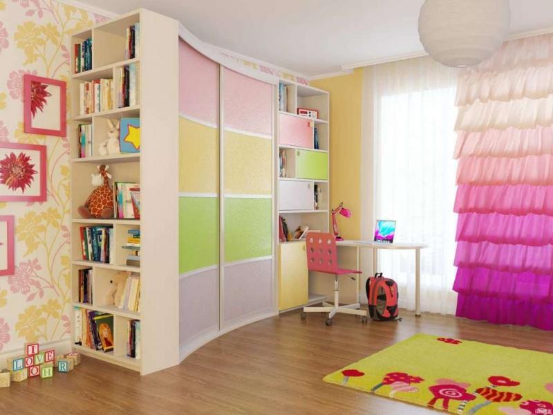 Радиусный шкаф в детскую