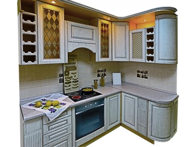 Кухня угловая Патина серебро