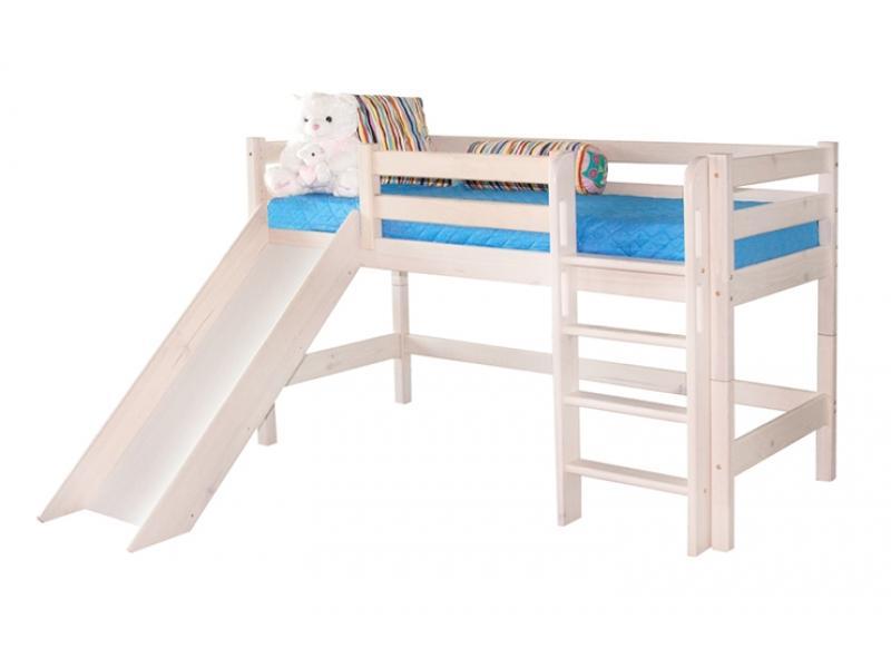 Кровать Соня низкая с прямой лестницей и горкой (Вариант 13)