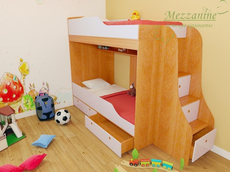 Кровать детская Твинс с лестницей Индиго