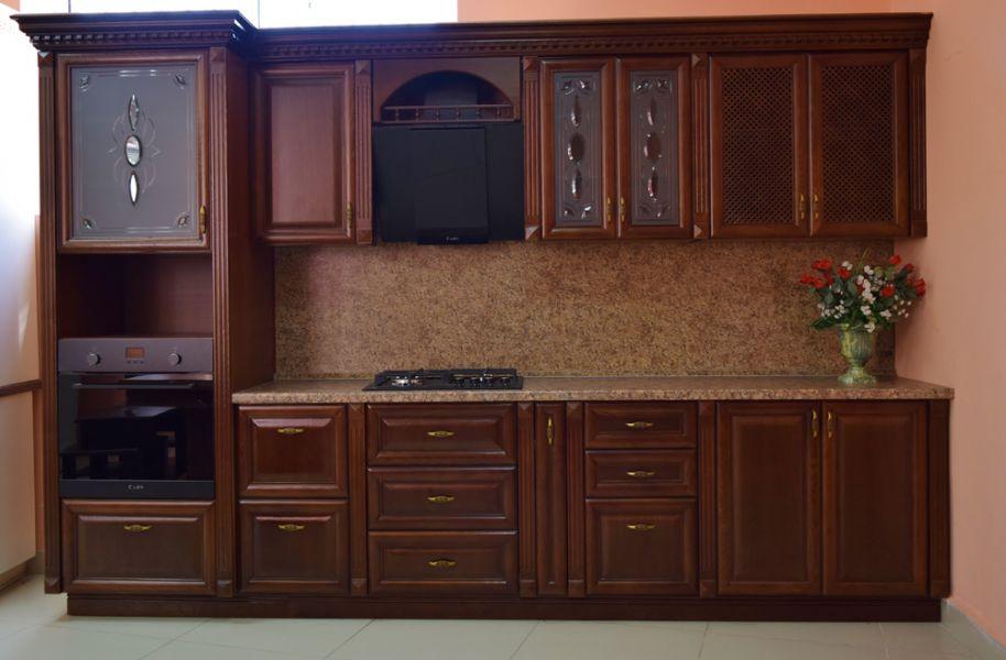 Классическая прямая кухня Каштан