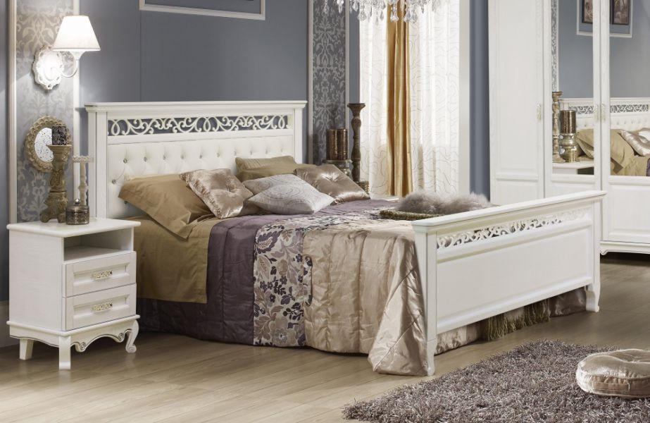 Кровать Венеция белая эмаль с патиной серебро