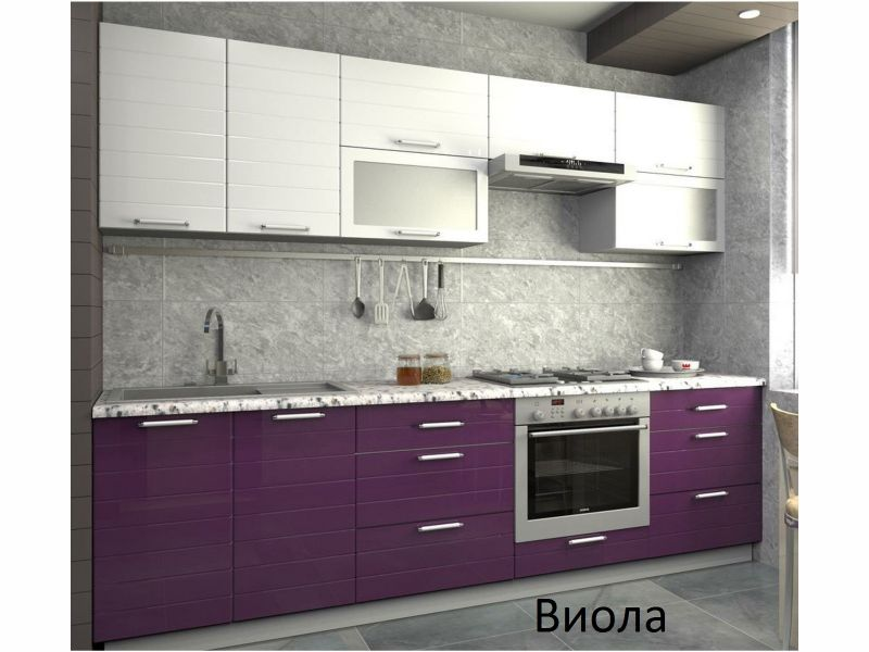 Кухня прямая глянцевая Виола