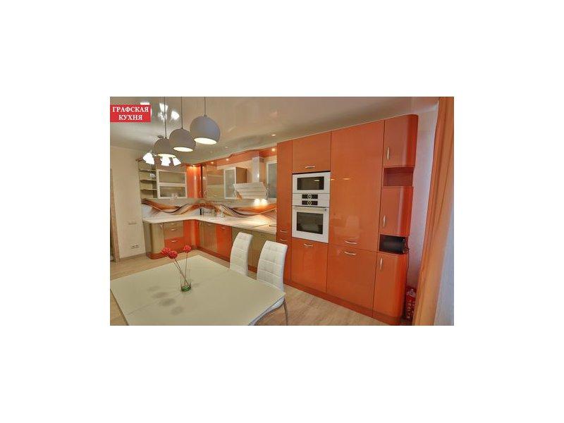 Кухня угловая оранжевая Модерн