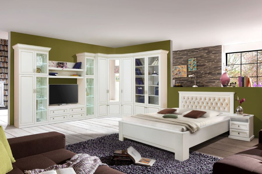 Набор модульной мебели Олимпия белая эмаль с золотой патиной