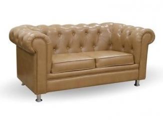 Светлый диван с каретной стяжкой Ника