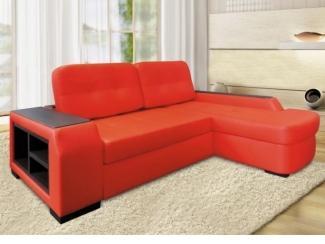 Красный диван с оттоманкой Лондон