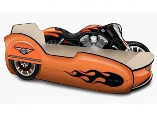 Кровать - Мотоцикл с коляской  Харли оранжевый - Мебельная фабрика «КАРоБАС»