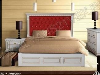 Кровать Лианор с кожанными вставками - Мебельная фабрика «Альянс 21 век»