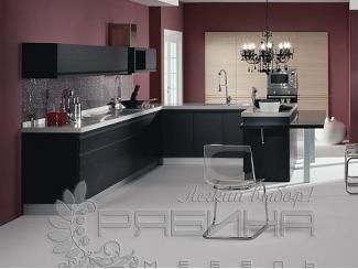 Кухня из шпона в черном цвете Оксфорд - Мебельная фабрика «Рябина», г. Москва