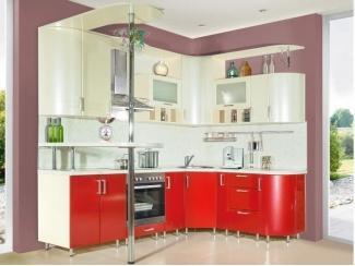 Угловая красная кухня со светлым верхом - Мебельная фабрика «Прима-сервис», г. Белгород