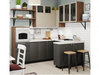 Угловая кухня с графитовым фасадом  - Изготовление мебели на заказ «Кухни ЧУ»