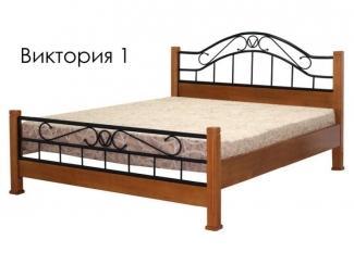 Кровать Виктория 1из массива сосны с элементами ковки - Мебельная фабрика «Массив»