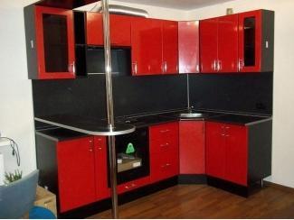 Угловая красная кухня - Мебельная фабрика «Три кита»