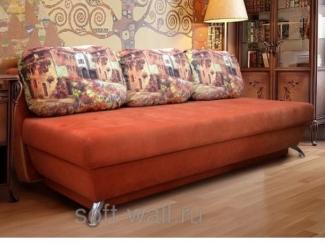Яркий оранжевый диван Виолетта-1  - Мебельная фабрика «SoftWall»