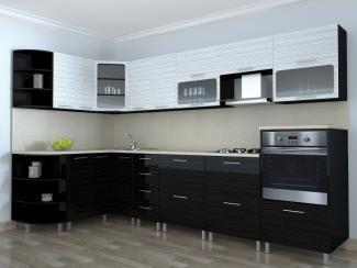 Кухня угловая Ирина Страйп черный-белый - Мебельная фабрика «Эко»