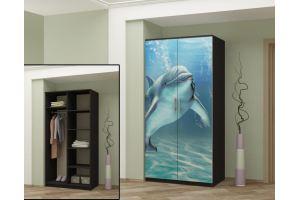 Шкаф двустворчатый с фотопечатью Дельфин