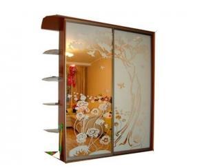 Шкаф купе с пескоструйным рисунком и боковинкой - Мебельная фабрика «Интерьер-мебель»