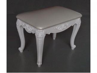 Белый пуф с точеными ножками  - Мебельная фабрика «Альфа-Пик»