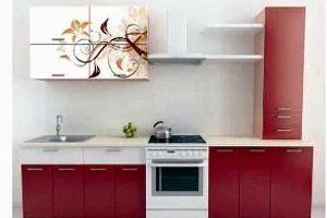 Кухонный гарнитур Бордовый орнамент - Мебельная фабрика «Союз-мебель»