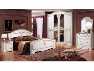 Спальный гарнитур в белом цвете Валерия Жемчуг - Мебельная фабрика «Август»