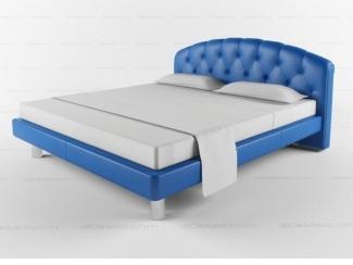 Синяя кровать в каретной стяжке - Мебельная фабрика «Уют»