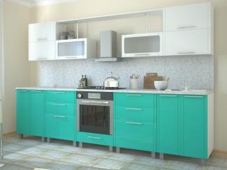 Кухня прямая Алла Морская волна - белая - Мебельная фабрика «Эко»