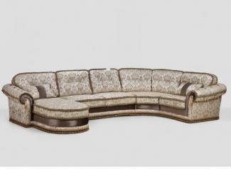 Тканевый угловой диван с оттоманкой Мадлен - Мебельная фабрика «ALVI SALOTTI»